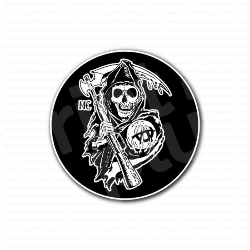 Sons Of Anarchy Reaper Round Sticker Sons Of Anarchy Reaper Sons Of Anarchy Anarchy