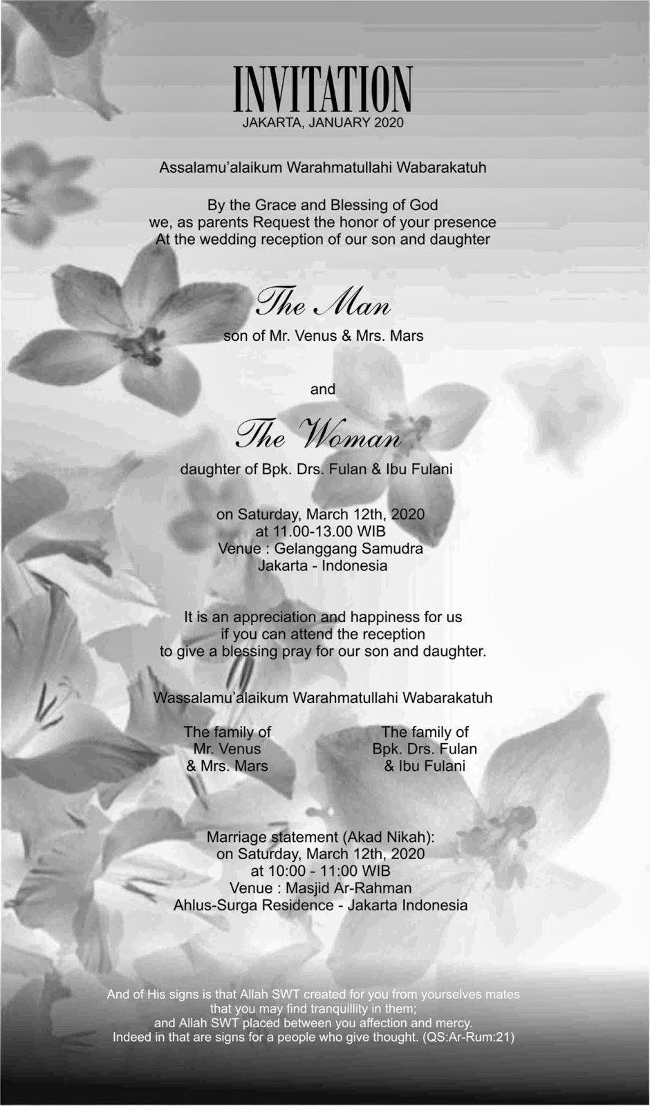 Contoh Invitation Dalam Bahasa Inggris Bahasa, Inggris