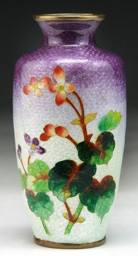 A Japanese Antique Silver Ando Cloisonne Vase On Cl Japan