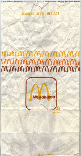McDonald's bag (how it looked in 80s) the last time ate there that bag looked like this and they used real beef!