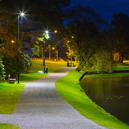 Aec provides luminaire for green park led lighting of vikastemmo in norway with italo street and urban fixture the luminaire installed in the park