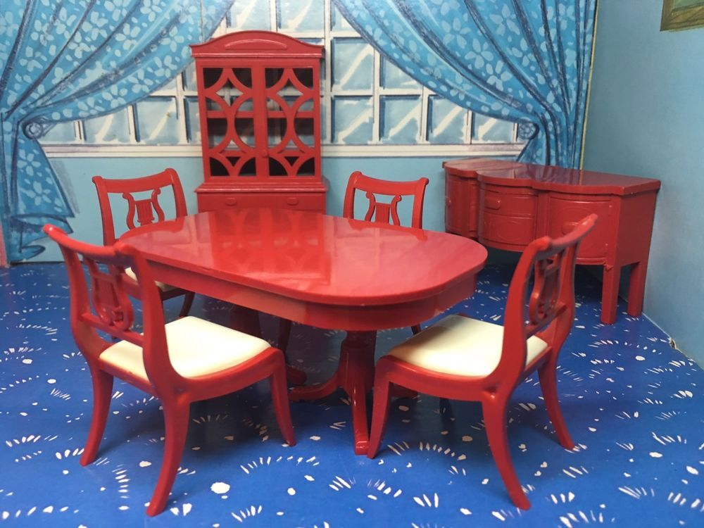 Beautiful Ideal Red Dining Room Set Vintage Dollhouse Furniture 1:16 Renwal  Marx