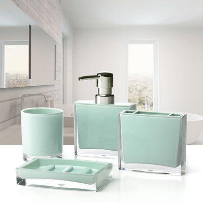 Immanuel Iced 4Piece Bathroom Accessory Set Color Jade Magnificent Bathroom Accessories Sets Design Ideas