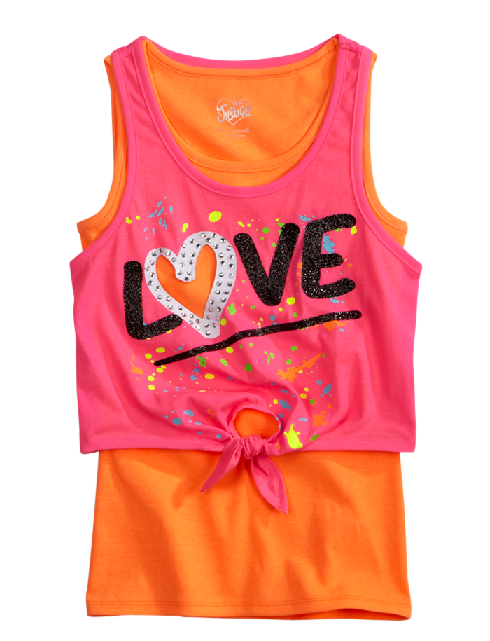 955eb471 Girls Clothing | Tanks & Bandeaus | Tie Front Crop Over Long Tank | Shop  Justice