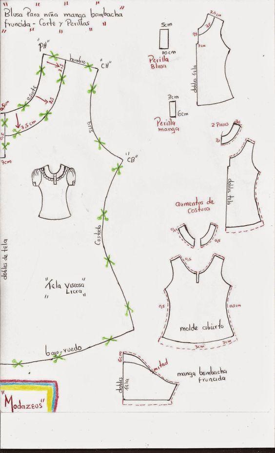 molderia de blusa para niñas con perilla y manga bombacha.!  moda  moldes   blusas  modazeus  b72743aee6bba