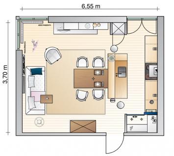 На плане видно, что после ремонта комната разделена на три функциональные зоны: кухонная, столовая и гостиная. В первой, появилась вместительная кладовка, во второй - большой обеденный стол, а третья имеет вместительный диван и дополнительные посадочные места. Недостаток дневного света компенсирует большое количество искусственного освещения.