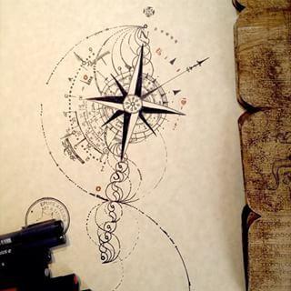Afficher l 39 image d 39 origine tatoo boussole pinterest images tatouages et designs de tatouages - Tatouage boussole signification ...
