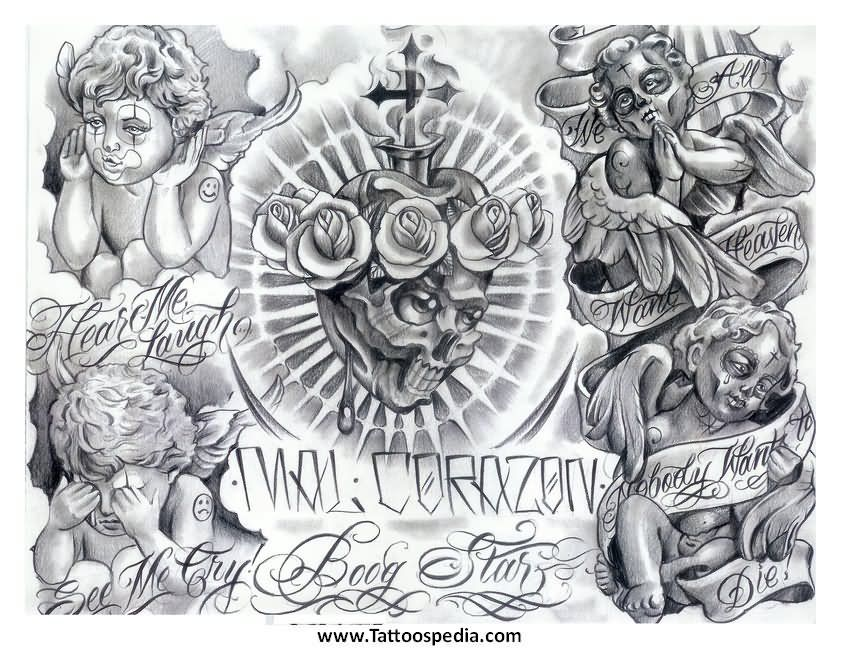 Grey Mexican Cherub Angels Tattoo Design Statues Boog
