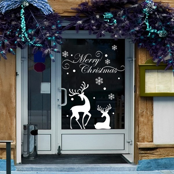 5.06$  Watch here - http://dij5d.justgood.pw/go.php?t=200221501 - Christmas Reindeer Glass Window Removable Wall Stickers