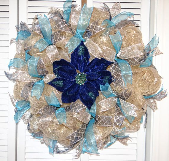 Check out this item in my Etsy shop https://www.etsy.com/listing/260216482/christmas-holiday-deco-mesh-wreath-gold