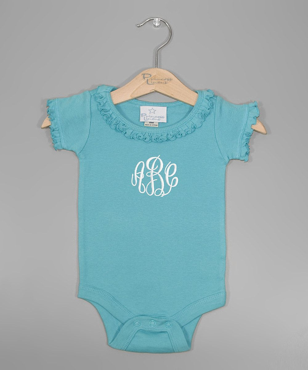 Turquoise Monogram Ruffle Bodysuit - Infant by Princess Linens Layette #zulily #zulilyfinds
