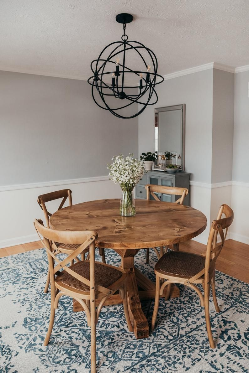 Round Pedestal Trestle Table Rustic X Round Pedestal Farmhouse Solid Wood Beam Dining Room Kitchen Table Round Dining Room Table Dining Room Small Farmhouse Dining Room Table Solid wood round dining table