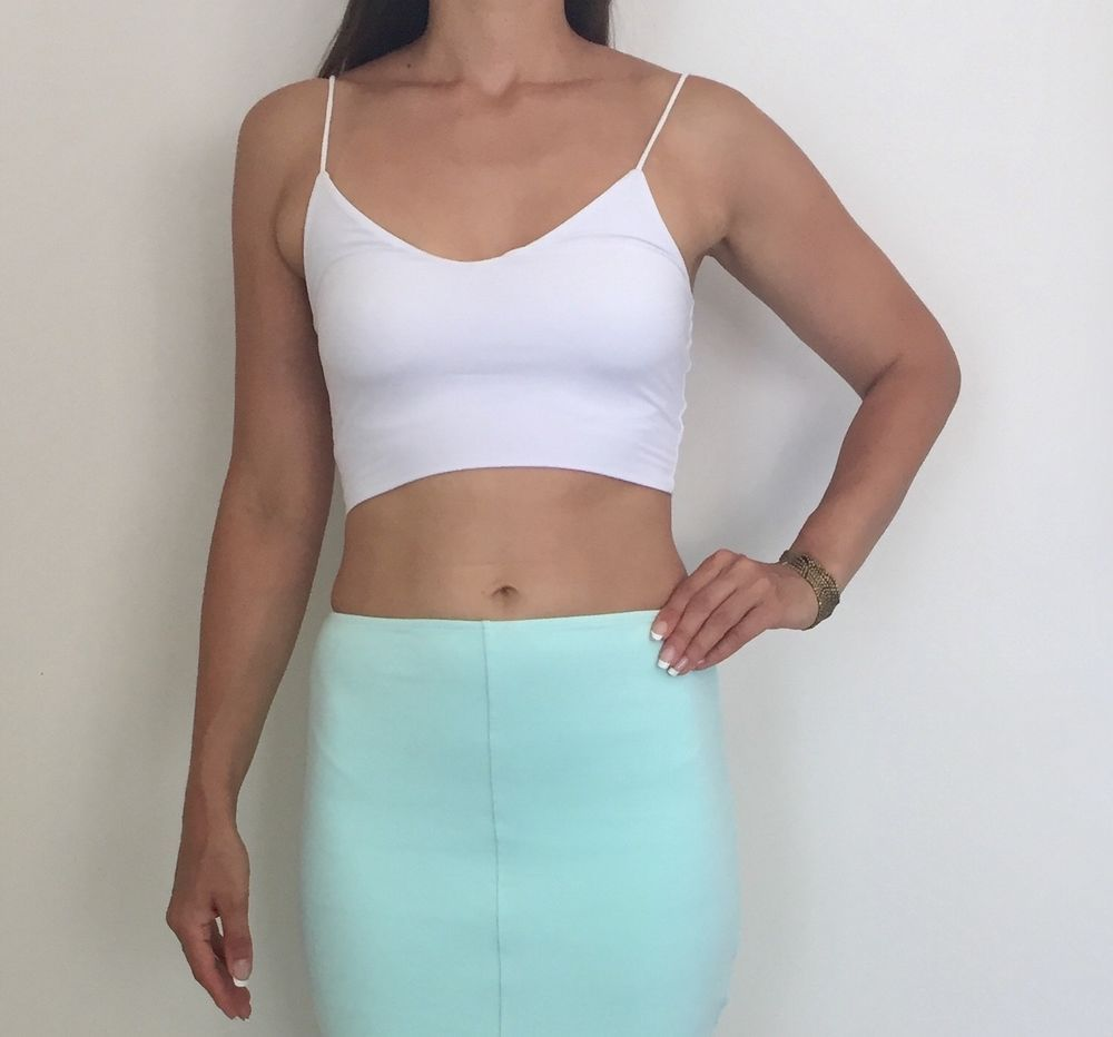 KOOKAI White Stretch Cami Crop Top Sz 1 AU 6-8  fashion  clothing ... d66d45487