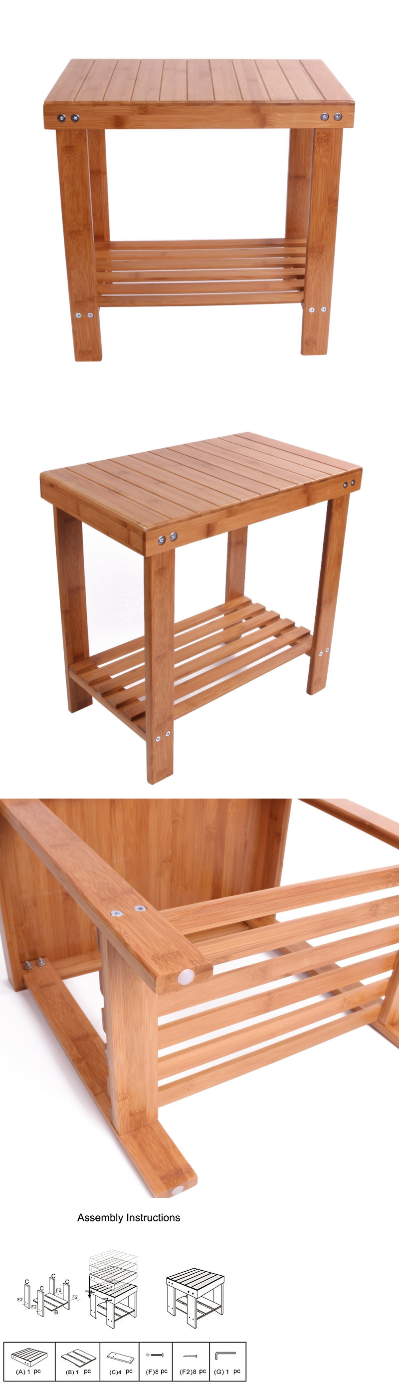 Shower and Bath Seats: Bamboo Shower Seat Bench Bathroom Spa Bath ...
