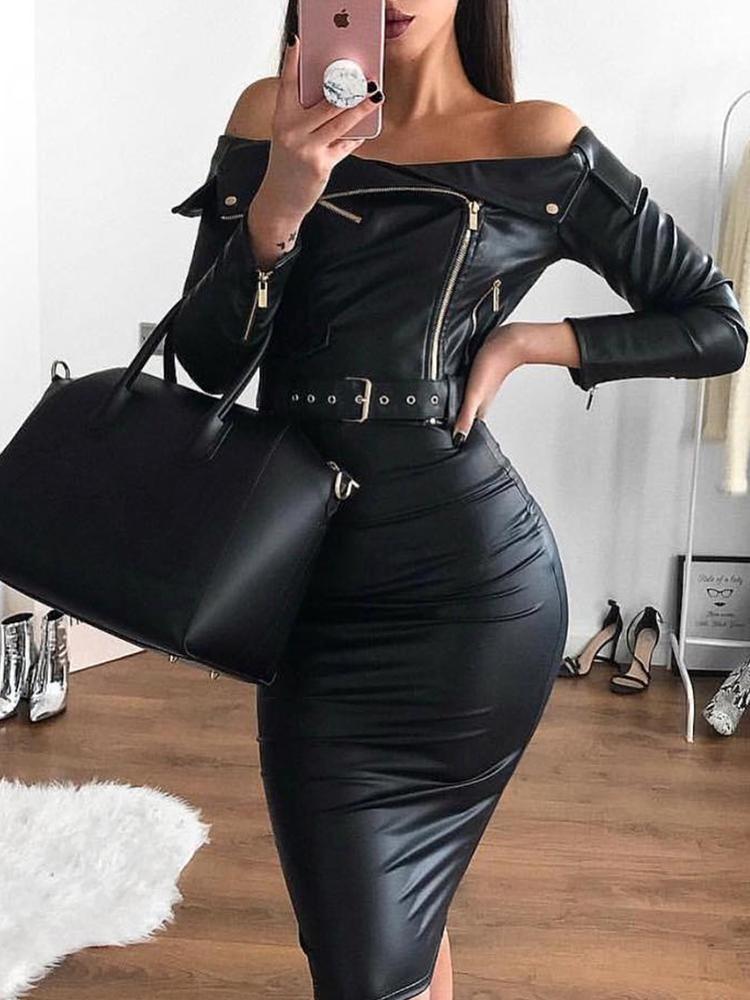 New Ladies Off Shoulder Long Sleeve Belted Zipper Bodycon Mini Denim Party Dress