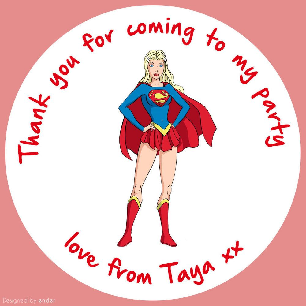 SUPERHERO SUPERGIRL BIRTHDAY PARTY STICKERS PERSONALISED GLOSS LABELS