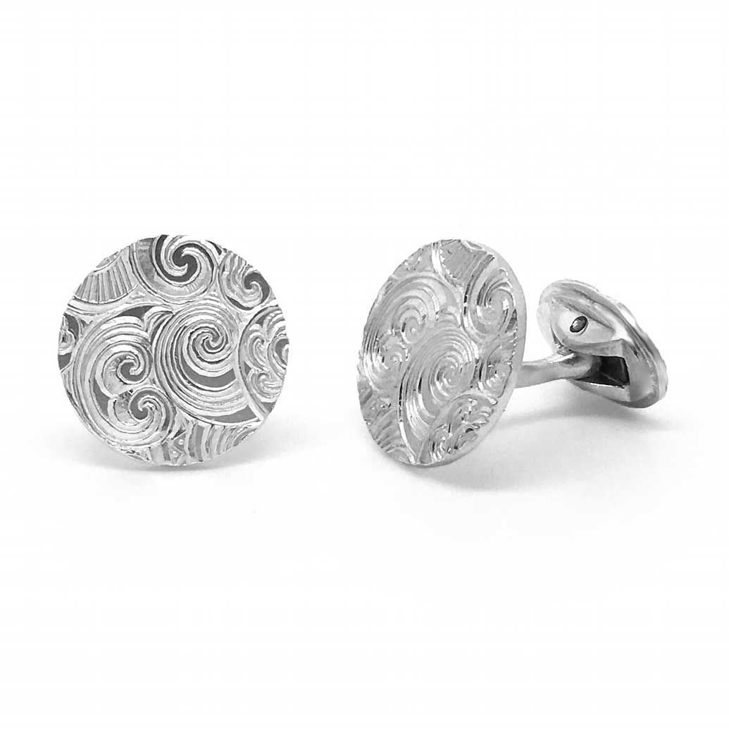 Orro Contemporary Jewellery Glasgow Karen Wallace Silver Waves Engraved Cufflinks Modern Gold By At