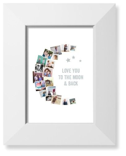 To The Moon Collage Art Print White Products Pinterest