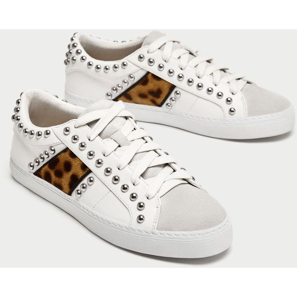 sneakers for cheap 5338f b777e PRINTED PLIMSOLLS WITH STUDS - SHOES-TRF  ZARA United States (420 SEK) ❤  liked on Polyvore featuring shoes, sneakers, studded sneakers, plimsoll  sneaker, ...