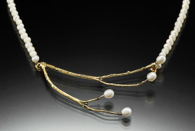 Willow necklace created from branches on my property. Hand cast in brass with fresh water pearls. So feminine!