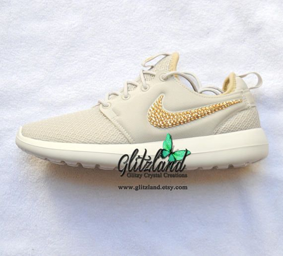 6c35be35de7f7 NEW!! Swarovski Nike Light Bone/Metallic Gold Roshe Two Casual Shoes ...