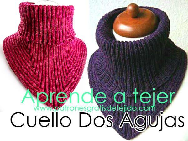 Patrón de cuello tejido con dos agujas | Crochet y Dos Agujas ...