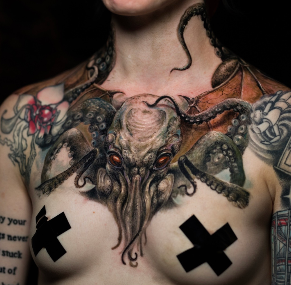 Pin by Kayla Klintworth on Ink Cthulhu tattoo, Chest