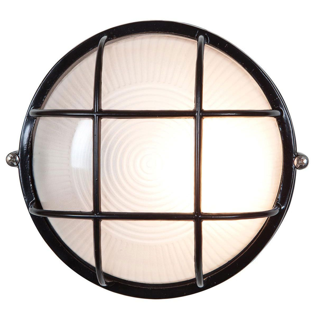 Nauticus round outdoor bulkhead wall sconce features frosted glass