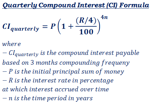 formula to calculate interest payable on quarterly compound interest
