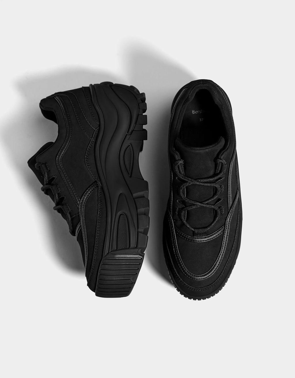 Buty Sportowe Na Platformie W Jednym Kolorze Hype Shoes Sneakers Fashion Trendy Sneakers