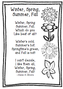 Freebie Friday:  Poem  Winter, Spring, Summer, Fall