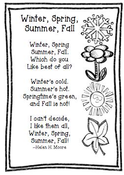Freebie Friday:  Poem  Winter, Spring, Summer, Fall