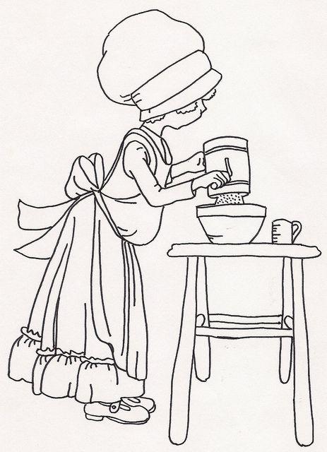 Girl Sifting Flour | Ausmalbilder
