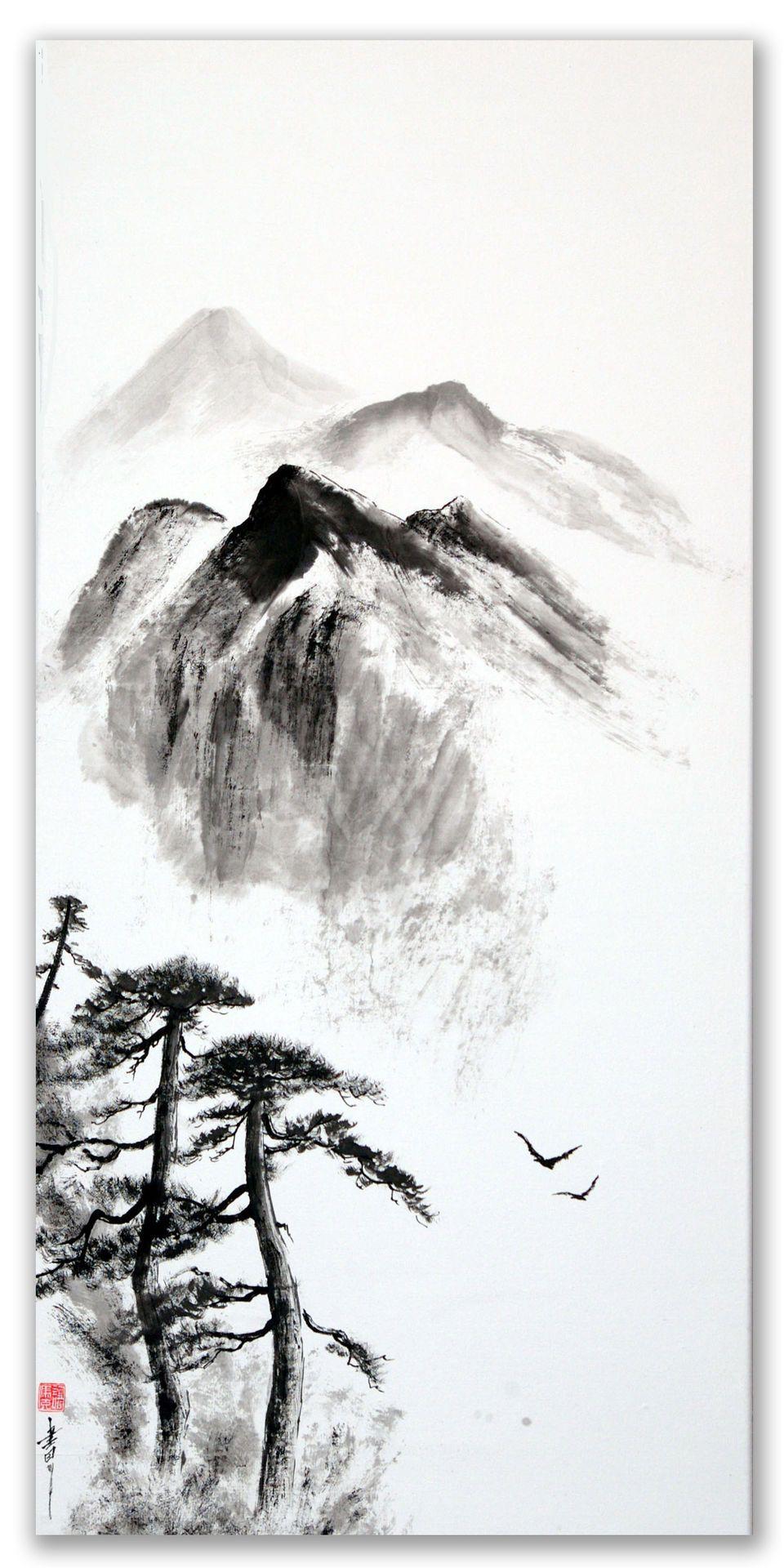 Vol A Travers Les Cimes 100x50cm La Peinture Zen Ou Sumi E