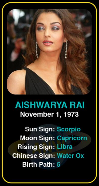 Celeb Scorpio Birthdays Aishwarya Rai S Astrology Info Sign Up Here To See More Https Www Astroconnects Com Gal Scorpio Woman Birth Chart Famous Scorpios