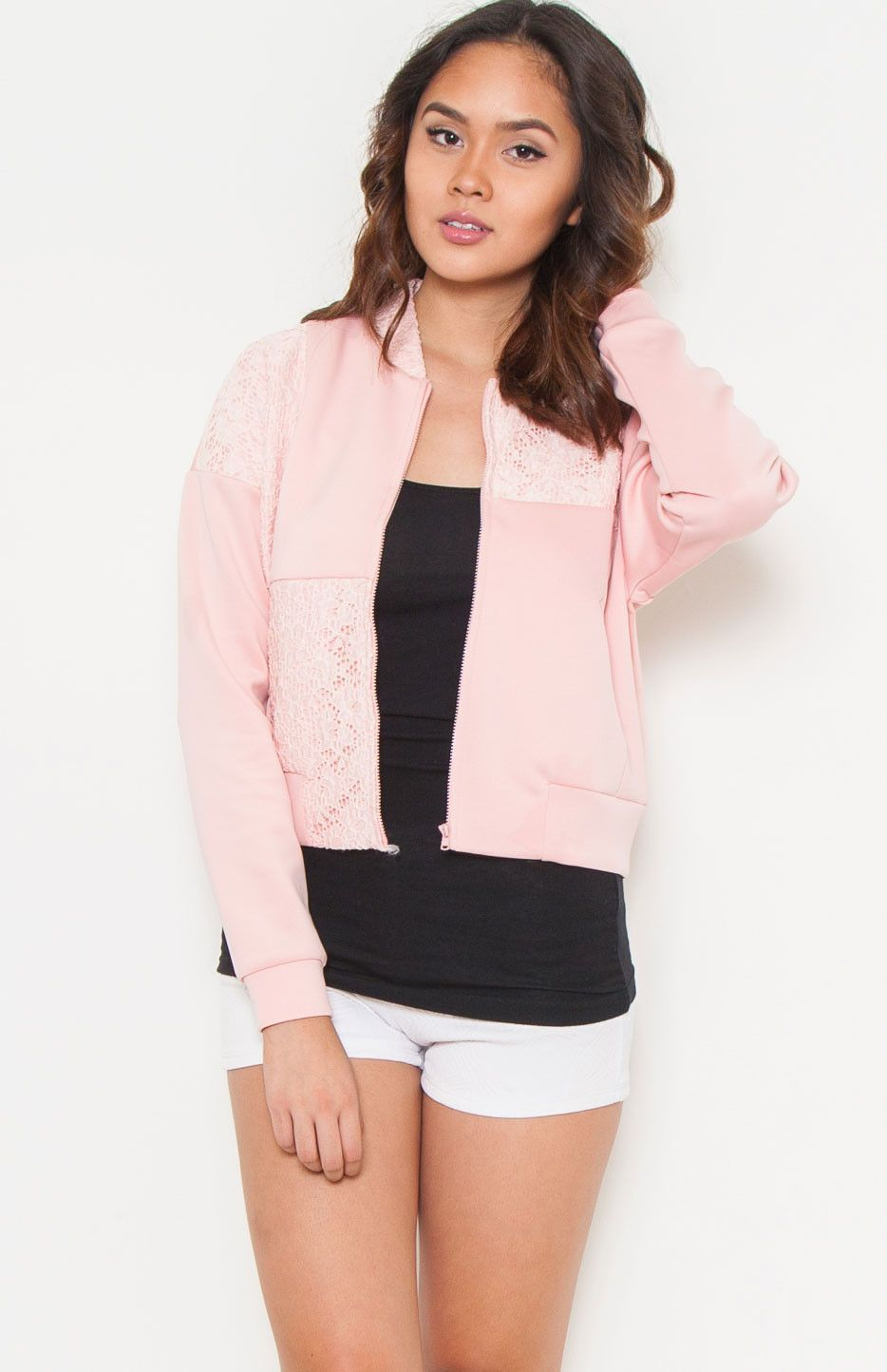 Little Queen Pink Crotchet Zip Up Jacket
