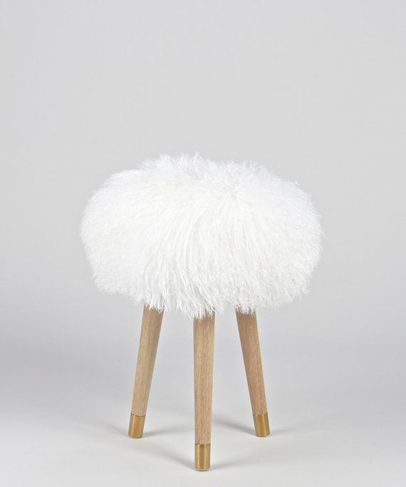 Magnificent Fur Vanity Stool Genuine White Mongolian Lamb Fur Stool Evergreenethics Interior Chair Design Evergreenethicsorg
