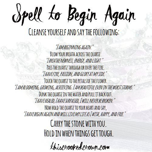 Begin Again Spell Saturday 28 With Images Spelling Magick