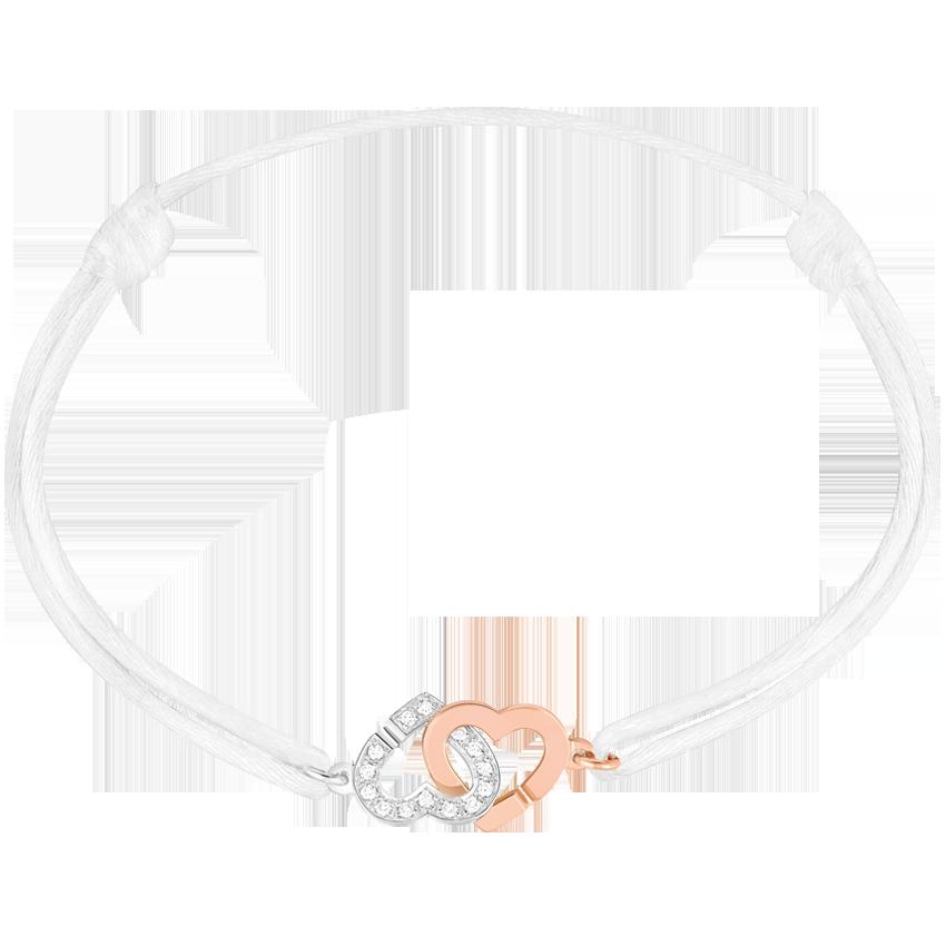 c8fa168e0c9 Dinh van Bracelet sur cordon Double Coeurs R9 or rose et or blanc ...