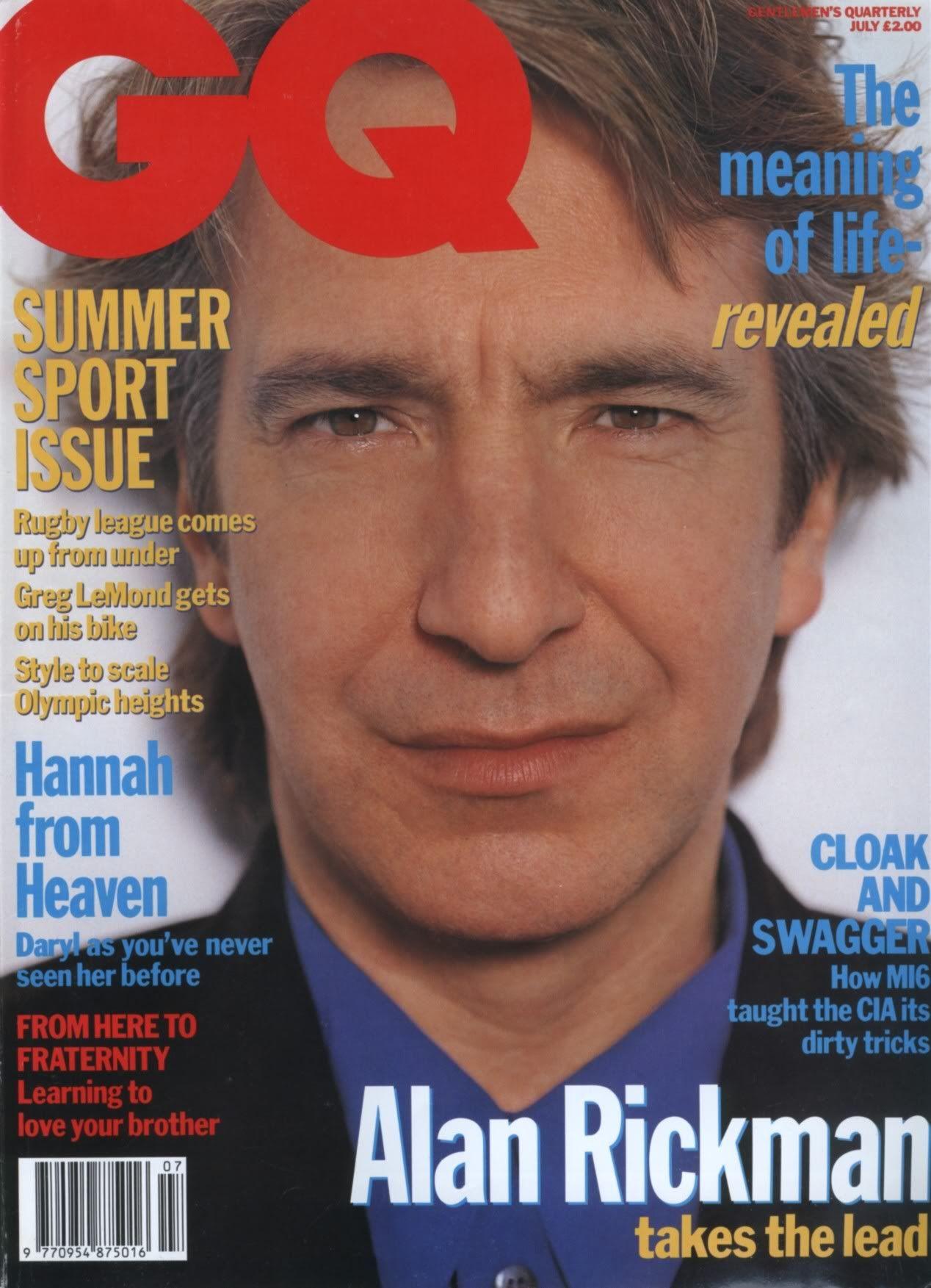 July 1992 Alan Rickman In Gq Magazine 1 Of 8 Alan Rickman