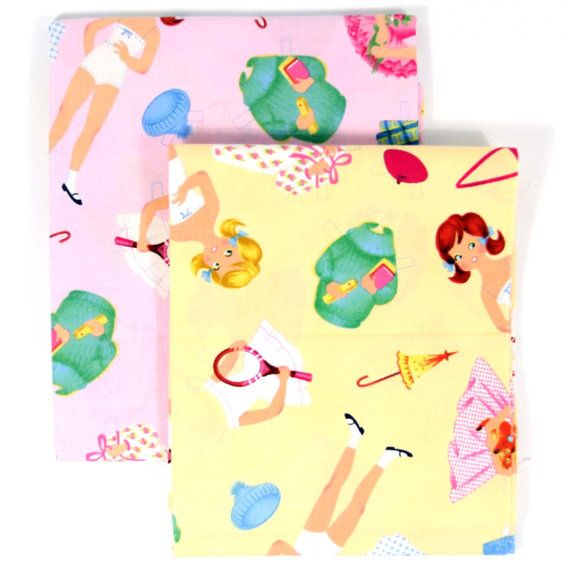 Timeless Treasures Paper Doll Fabric  Retro Paper by 3BagsFulled (Craft Supplies & Tools, Fabric, cotton fabric, paper doll fabric, pastel paper dolls, girls fabric, nursery fabric, collectors fabric, fabric paper dolls, paper dolls on pink, yellow paper dolls, novelty fabric, retro paper dolls, timeless treasures)