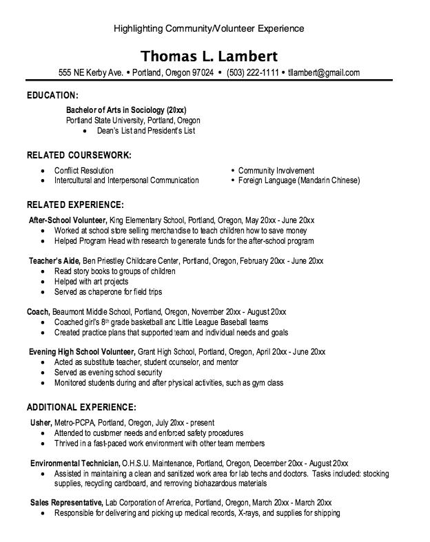 Resume Volunteer Experience Degree Examples Resume CV