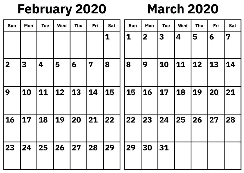 february and march 2020 calendar  u2013 custom calendar maker