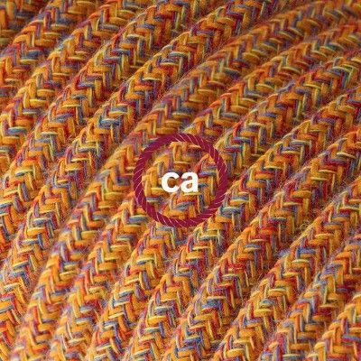 Fil Électrique Rond Gaine De Tissu De Couleur Coton Indian Summer - Couleur Des Fils Electrique