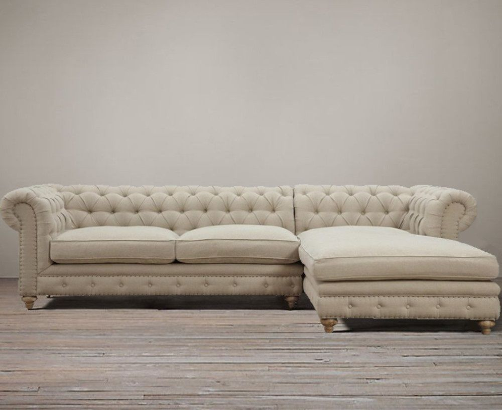 Restoration Hardware Style Chesterfield Deconstructed Down Linen Tufted Sectional Sofa Chaise Nail Head Purehome