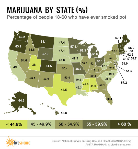 Where Americans Smoke And Grow Marijuana Maps - Legality of pot in the us map