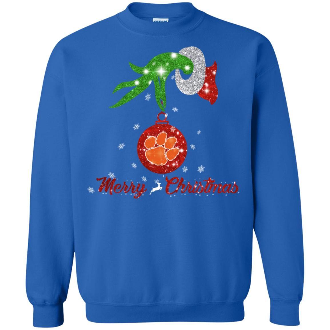 Grinch Hand Ornament Clemson Tiger Paw Glitter Christmas Shirts Grinch Hands Christmas Shirts Glitter Christmas
