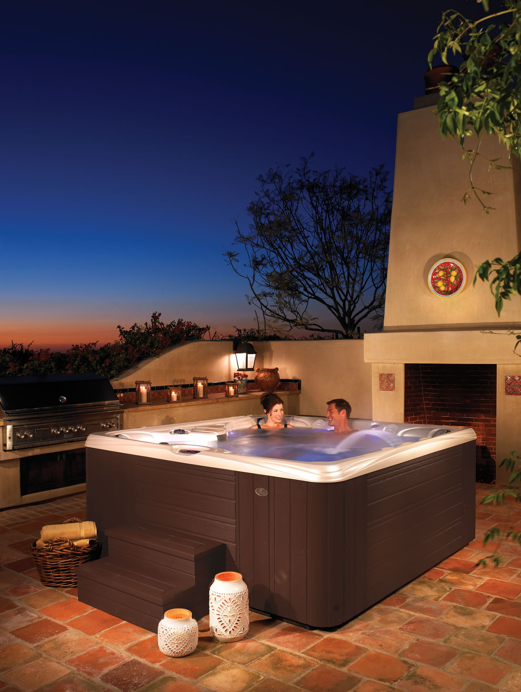 Enjoy A Beautiful Evening In Your Caldera Hottub Hot Tub Spa Hot Tubs Outdoor Patio Designs
