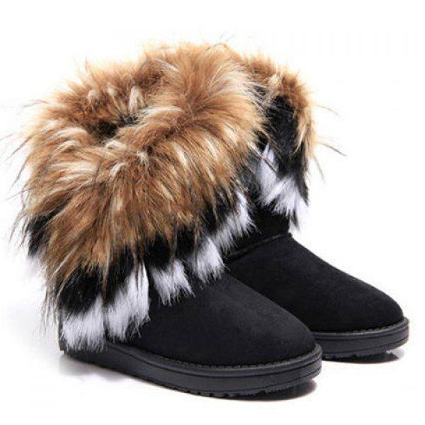 Women's Snow Shoes Artificial Fur Warm Ankle Boot