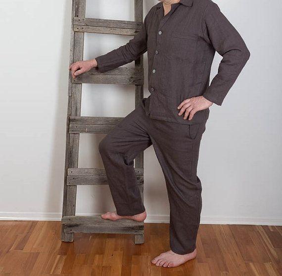 4c5ff32c71af Mens Linen Pyjamas , Linen Sleepwear, Mens Linen night suit , Linen Pyjamas  Pants and Shirt, Homewear, Linen Leisure wear